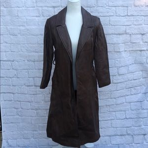 Vintage western leather trench coat